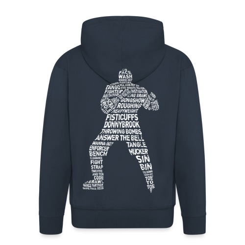 Hockey Enforcer Lingo (white print) - Men's Premium Hooded Jacket
