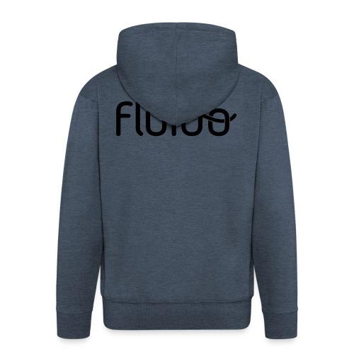 fluidologo_musta - Miesten premium vetoketjullinen huppari