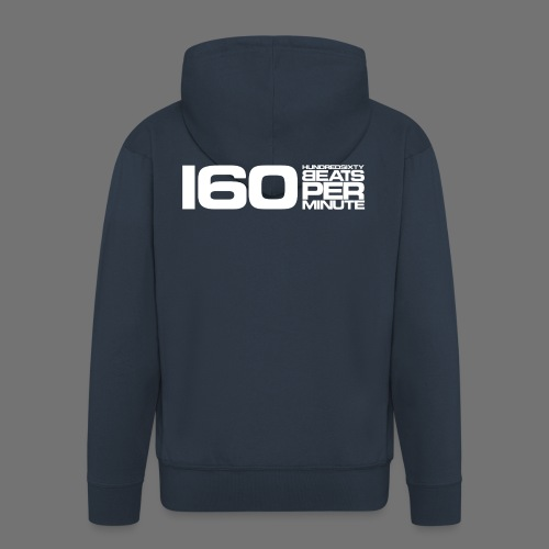 160 BPM (białe długie) - Rozpinana bluza męska z kapturem Premium