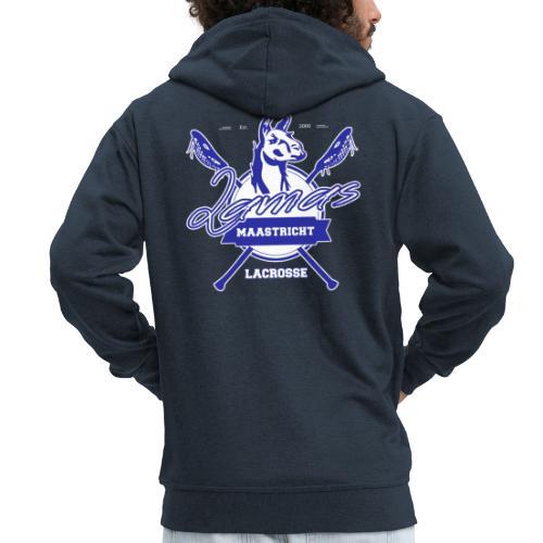 Llamas - Maastricht Lacrosse - Blauw - Mannenjack Premium met capuchon