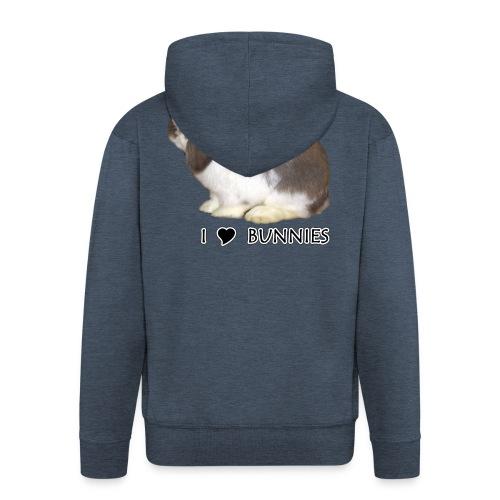 I Love Bunnies Luppis - Miesten premium vetoketjullinen huppari