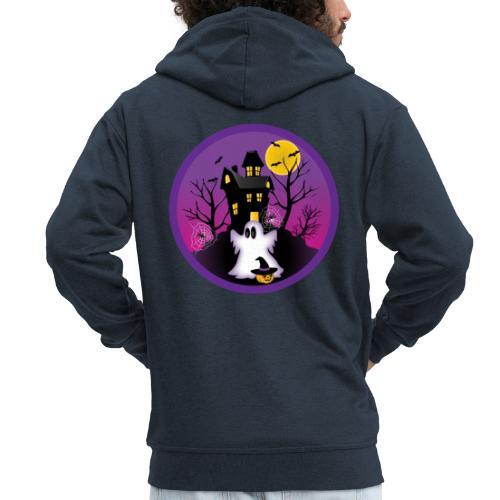 Spooky Halloween Ghost - Men's Premium Hooded Jacket