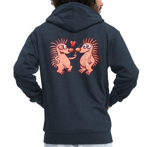 Bold hedgehogs playing dangerous love games - Men's Premium Hooded Jacket