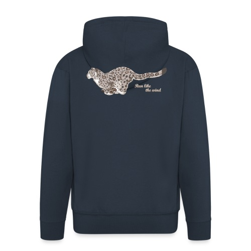Snow Leopard: Run Like the Wind - Rozpinana bluza męska z kapturem Premium