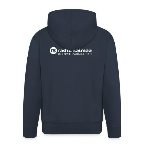 Radio Saimaa logo sloganilla valkoinen - Miesten premium vetoketjullinen huppari