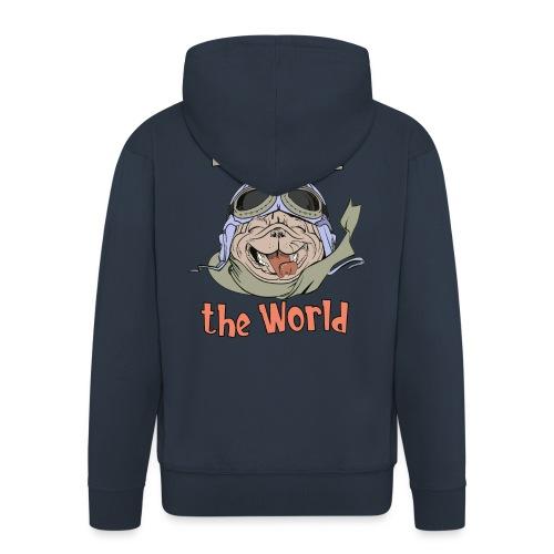 Discover the World - Happy Adventure Pug - Men's Premium Hooded Jacket