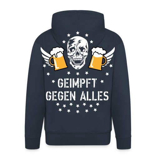 126 Totenkopf Mass Bier Geimpft gegen alles - Männer Premium Kapuzenjacke