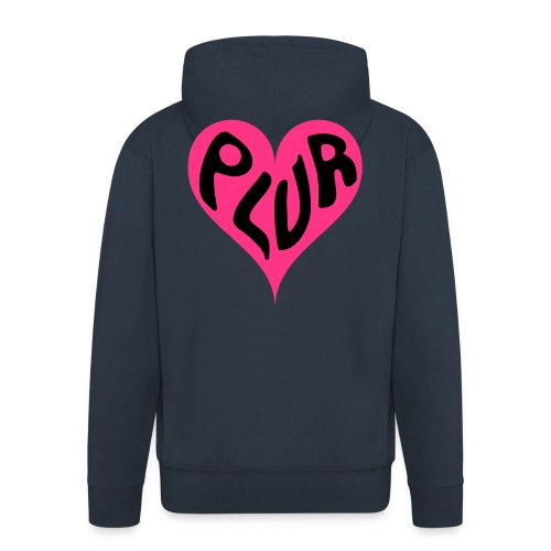 PLUR - Peace Love Unity and Respect love heart - Men's Premium Hooded Jacket