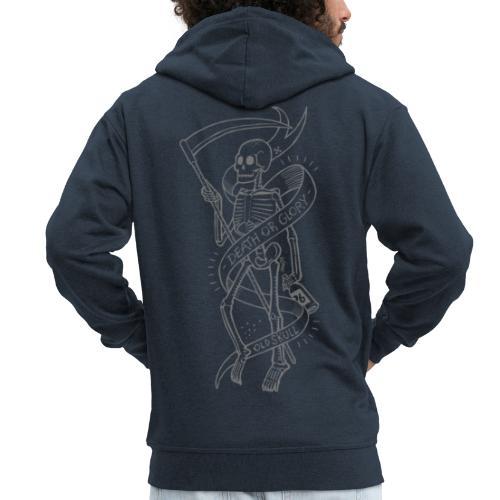 Old Skull grey - Felpa con zip Premium da uomo