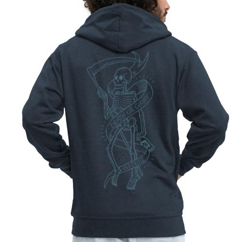 Old Skull blue - Felpa con zip Premium da uomo