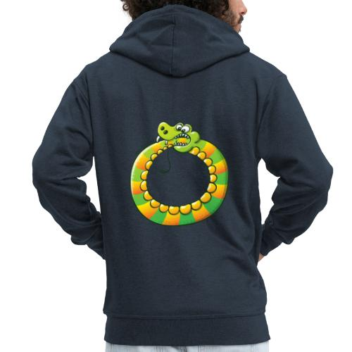 Crazy Snake Biting its own Tail - Men's Premium Hooded Jacket