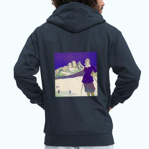 Ski trip vintage poster - Men's Premium Hooded Jacket