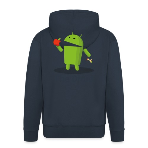 The Droid eats apple - Felpa con zip Premium da uomo