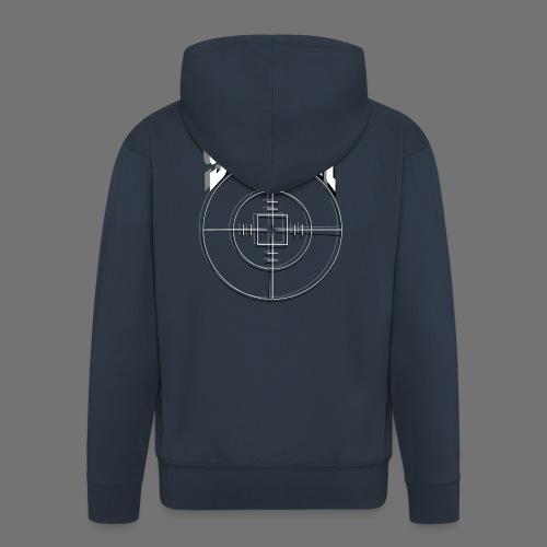 Sniper (valkoinen) - Miesten premium vetoketjullinen huppari