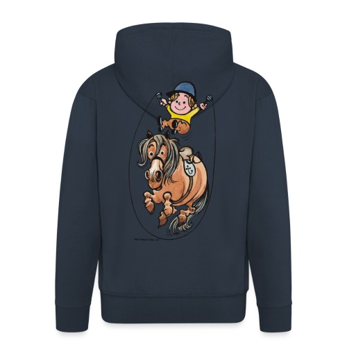Thelwell Funny Rope Jumping Horse And Rider - Men's Premium Hooded Jacket