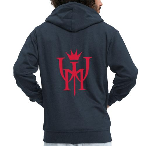 Logo MW Czerwone - Rozpinana bluza męska z kapturem Premium