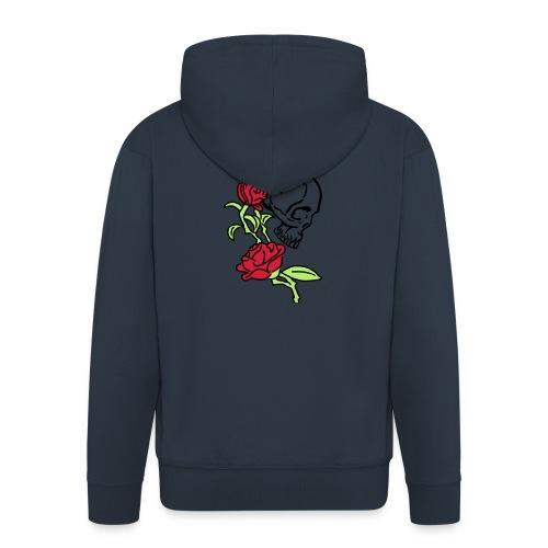 teschio e rose es123_2 - Felpa con zip Premium da uomo