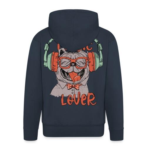 Music Lover - Happy Mops Hundekopf Vintage style - Männer Premium Kapuzenjacke
