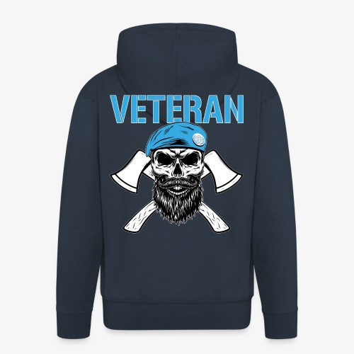 Veteran - Dödskalle med blå basker och yxor - Premium-Luvjacka herr