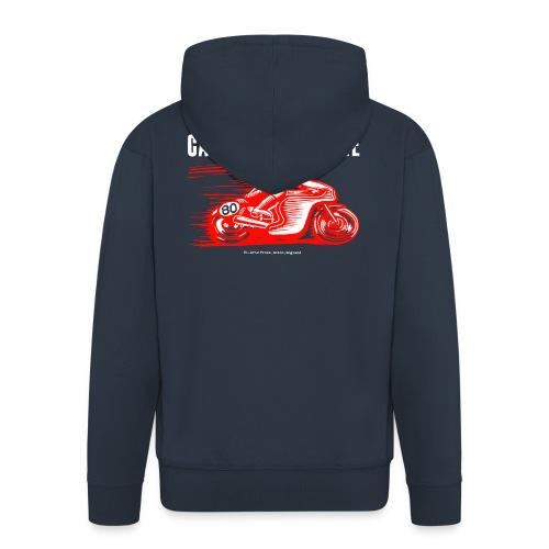 Caffeine & Gasoline white text - Men's Premium Hooded Jacket