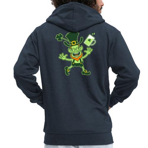 Euphoric Leprechaun Celebrating St Patrick's Day - Men's Premium Hooded Jacket