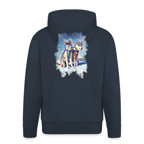 Huskies im Schnee - Männer Premium Kapuzenjacke
