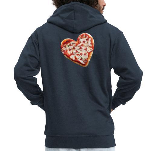 Pizza a cuore - Felpa con zip Premium da uomo