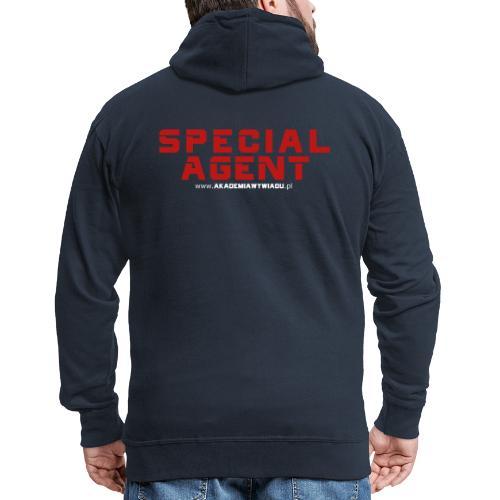 Emblemat Special Agent marki Akademia Wywiadu™ - Rozpinana bluza męska z kapturem Premium