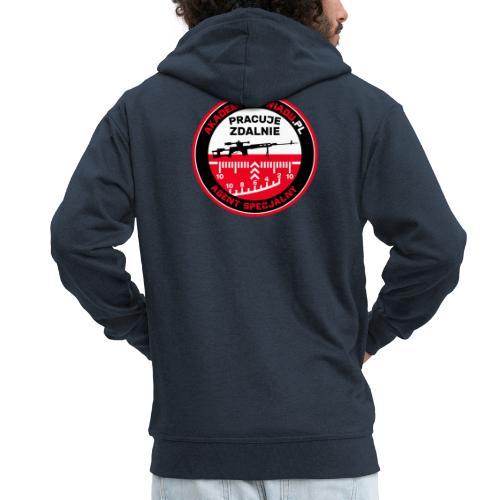 Emblemat Pracuje zdalnie - Akademia Wywiadu™ - Rozpinana bluza męska z kapturem Premium