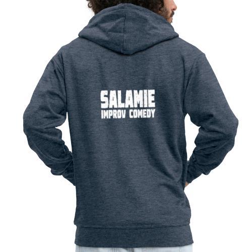 Salamie Improv Comedy tekst (wit) - Mannenjack Premium met capuchon