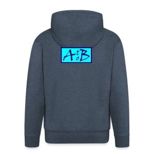 AtoB Logo light blue - Men's Premium Hooded Jacket