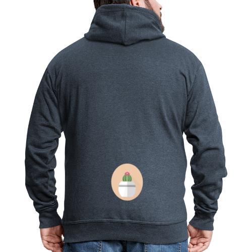 Flat Cactus Flower Round Potted Plant Motif - Men's Premium Hooded Jacket