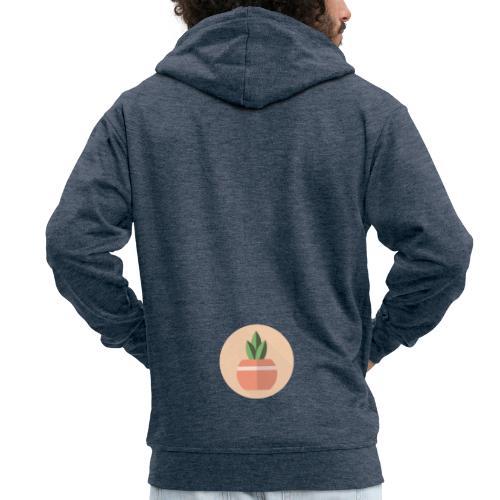 Flat 3 Leaf Potted Plant Motif Round - Men's Premium Hooded Jacket