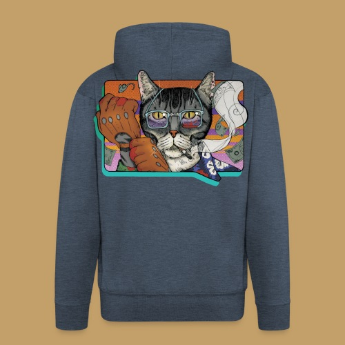 Crime Cat - Rozpinana bluza męska z kapturem Premium