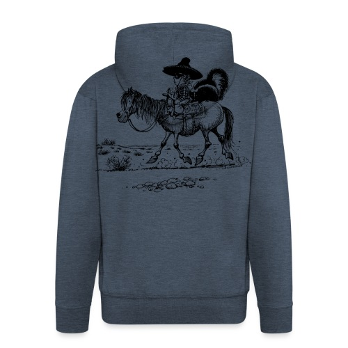 Thelwell 'Cowboy with a skunk' - Men's Premium Hooded Jacket