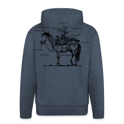 Thelwell Cartoon Bescheribung Westernpferd - Männer Premium Kapuzenjacke