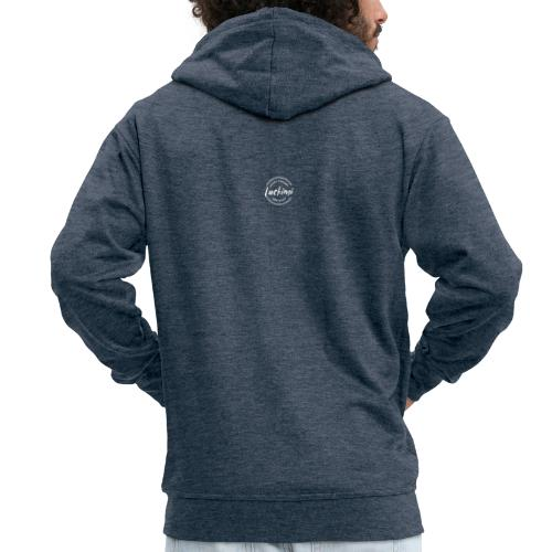 Luckimi logo white small circle on sleeve or back - Men's Premium Hooded Jacket