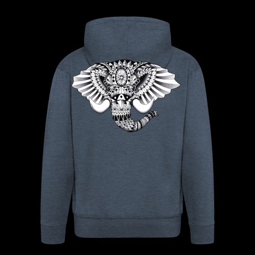 Elephant Ornate Drawing - Felpa con zip Premium da uomo
