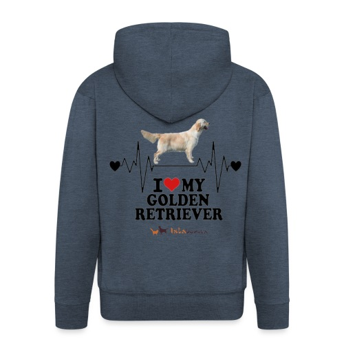 I love Golden Retriever - Felpa con zip Premium da uomo