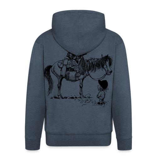 Thelwell Cartoon Cowboy mit seinem Pony - Männer Premium Kapuzenjacke