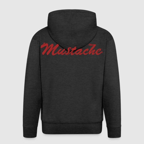 Red Mustache Lettering - Men's Premium Hooded Jacket