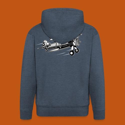 Flieger / Airplane 01_schwarz weiß - Männer Premium Kapuzenjacke
