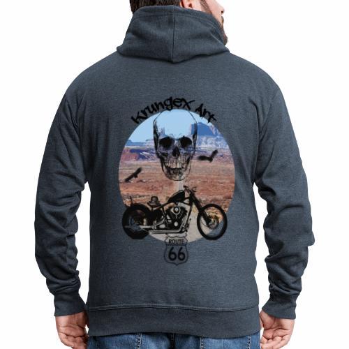 Skull Route - Felpa con zip Premium da uomo