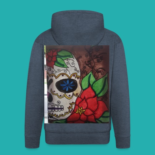 flower-skull - Men's Premium Hooded Jacket