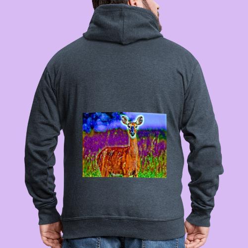 Cerbiatto con magici effetti - Felpa con zip Premium da uomo