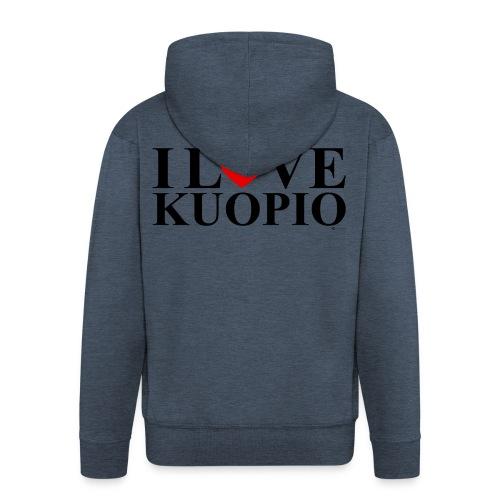I LOVE KUOPIO (koko teksti, musta) - Miesten premium vetoketjullinen huppari