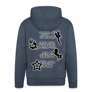 Fairies, Unicorns, Mermaids and Stars - Men's Premium Hooded Jacket