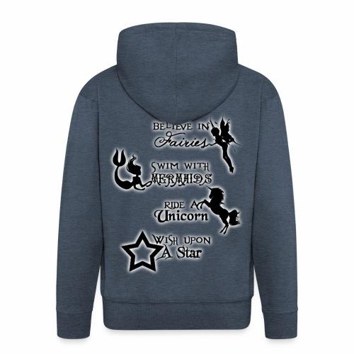 Fairies, Unicorns, Mermaids and Stars - Men's Premium Hooded Jacket