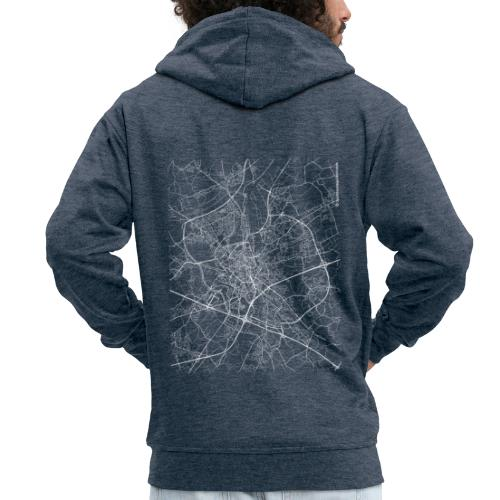 Minimal Ghent city map and streets - Men's Premium Hooded Jacket