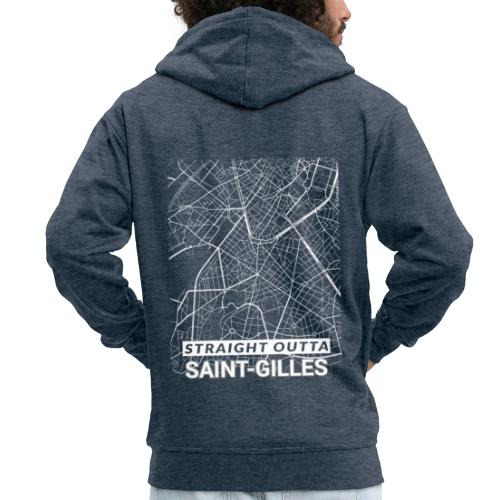 Straight Outta Saint-Gilles city map and streets - Men's Premium Hooded Jacket